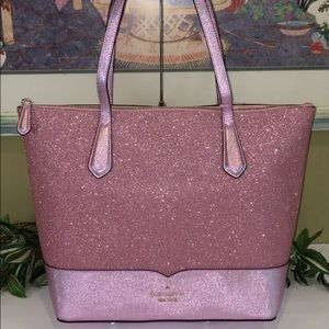 KATE SPADE NEW YORK LOLA GLITTER TOTE ROSE PINK